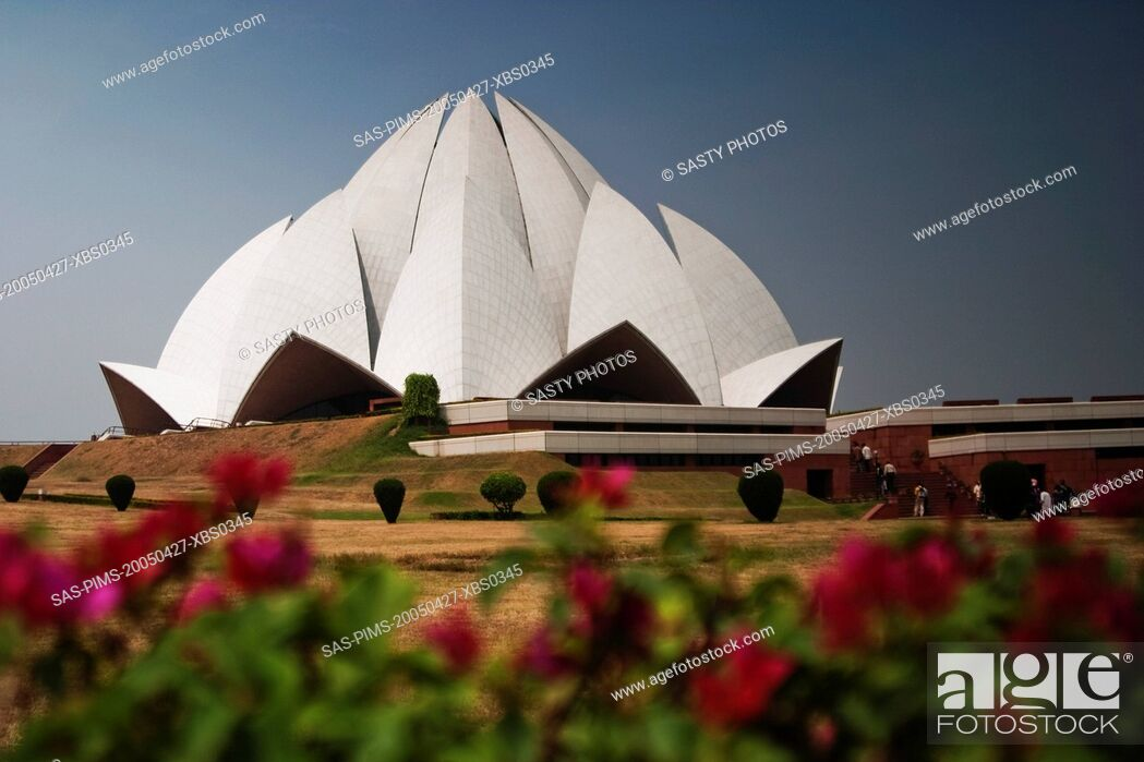 Stock Photo: Architectural details of a temple, Lotus Temple, New Delhi, India.