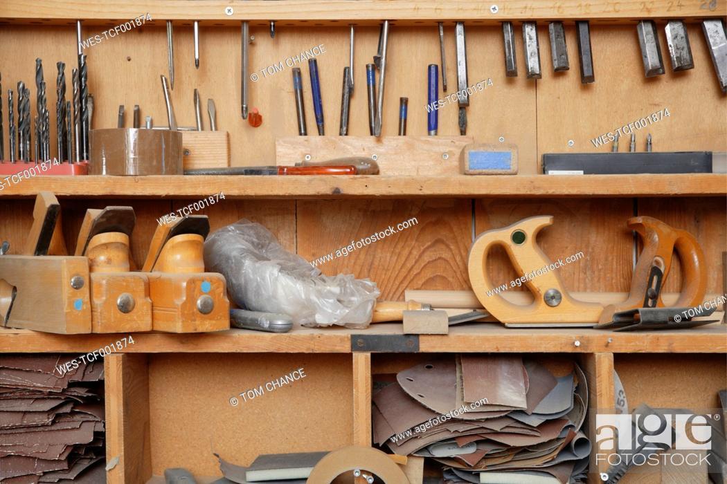 Stock Photo: Germany, Upper Bavaria, Schaeftlarn, Variety of tools in shelf.