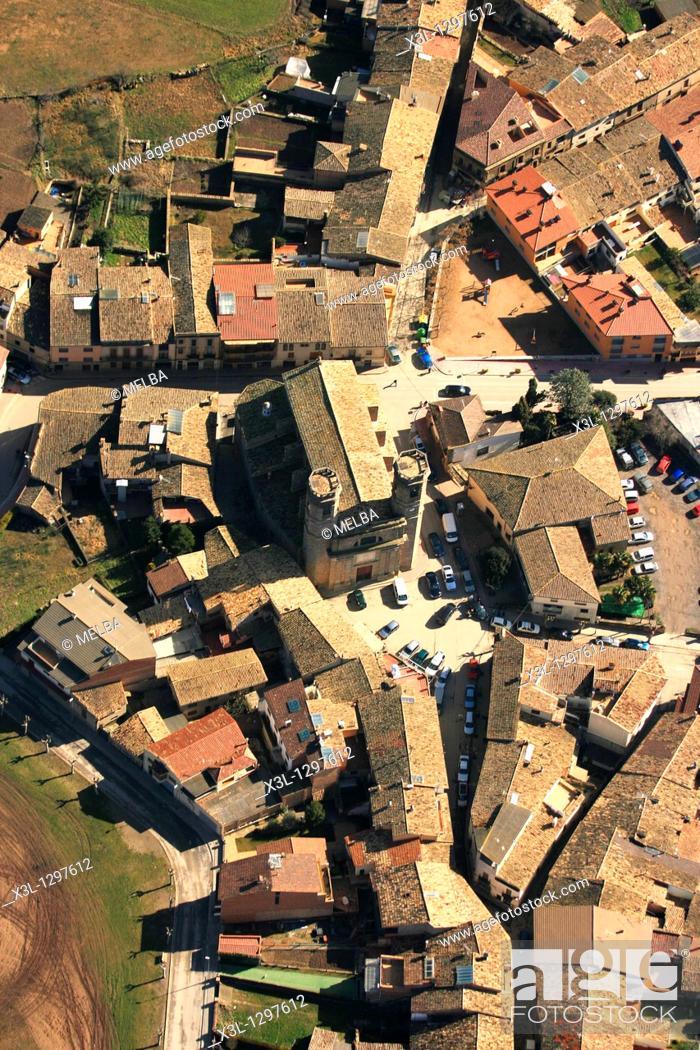 Stock Photo: Village, Plana de Vic, Barcelona province, Catalonia, Spain.