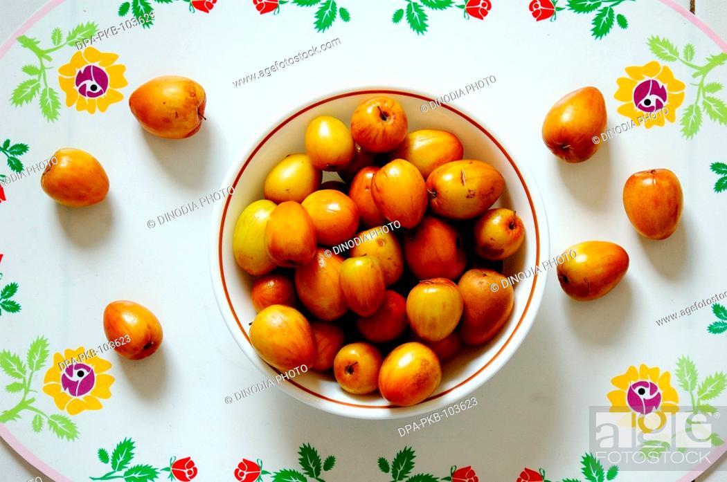 Indian fruits berries in hindi bore or ber, Stock Photo
