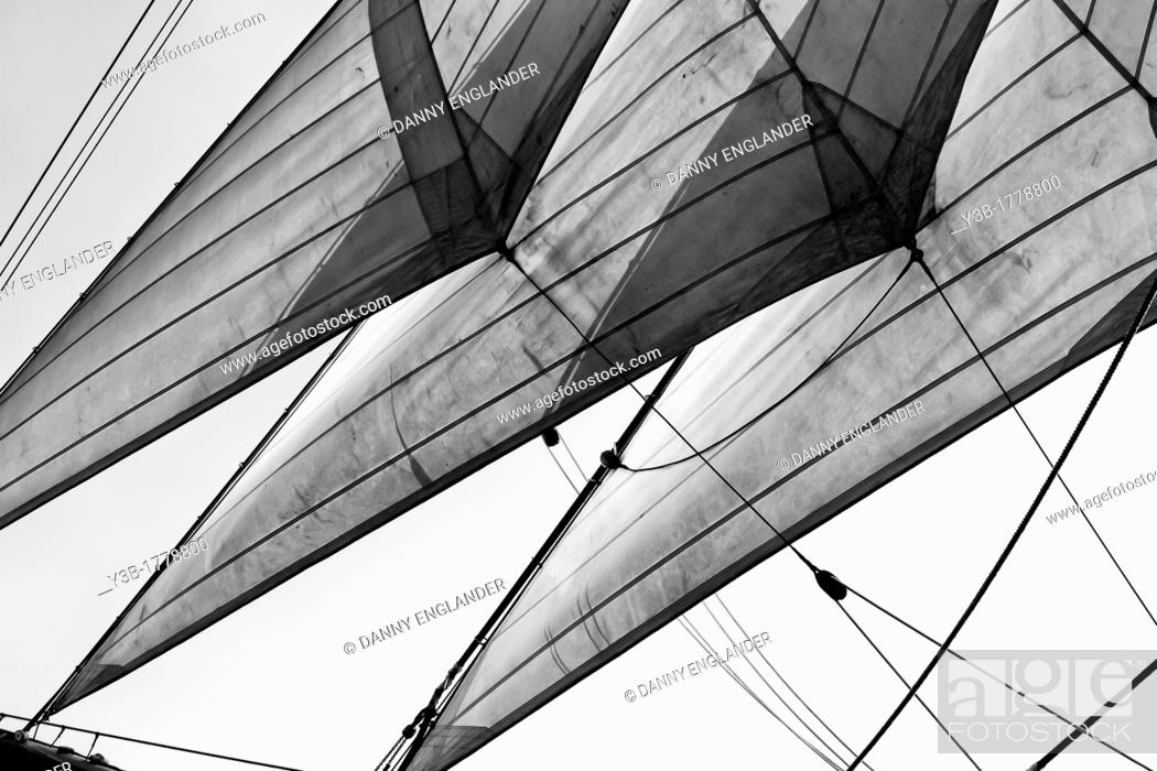 Stock Photo: The Sails of the Star of India, San Diego Maritime Museum.