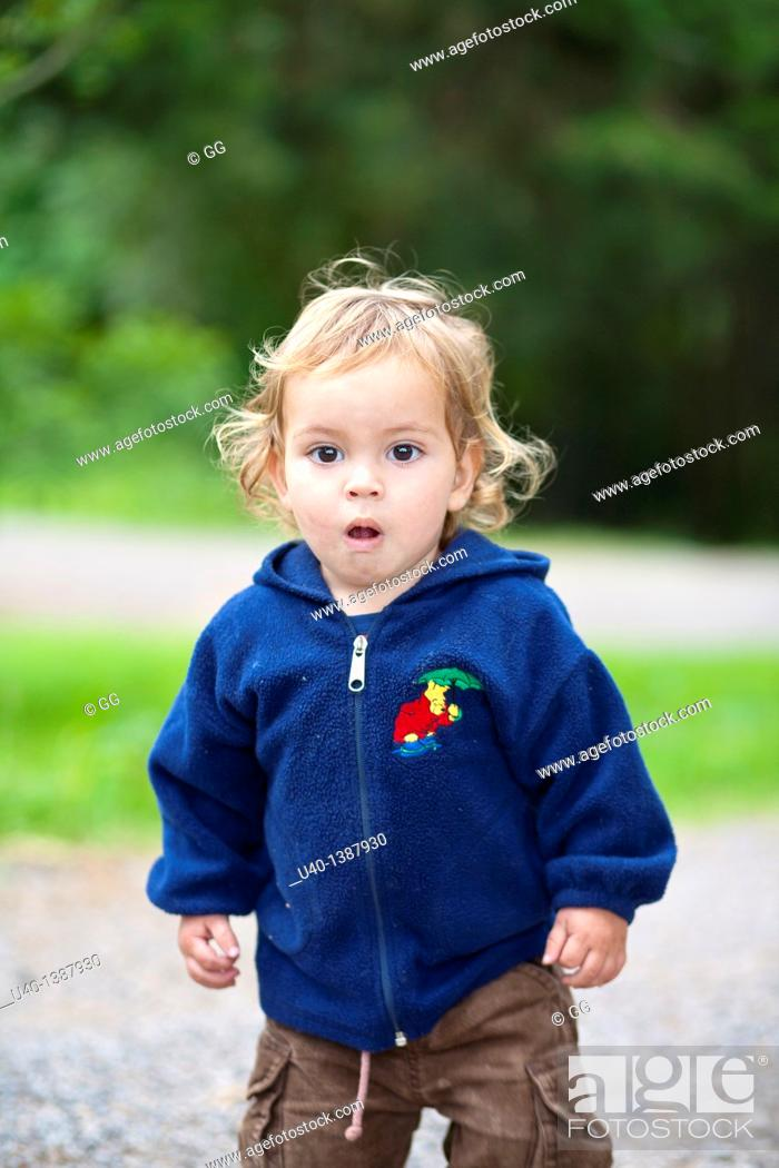 Stock Photo: Boy playing in the woods.