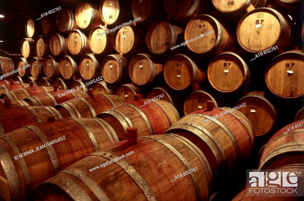 Stock Photo: Wine barrels in St  Helena, California, USA.