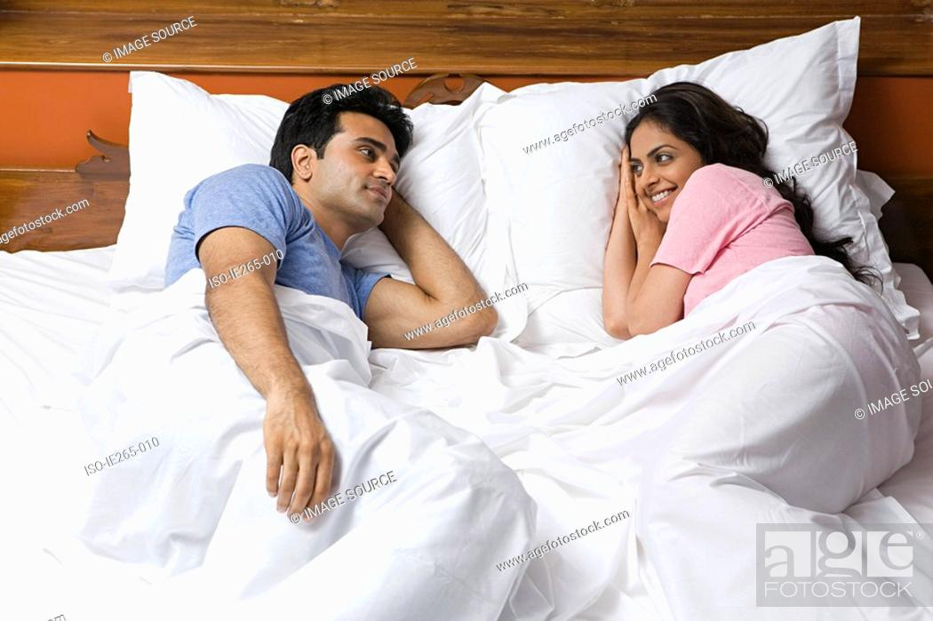 Stock Photo: A couple in bed.