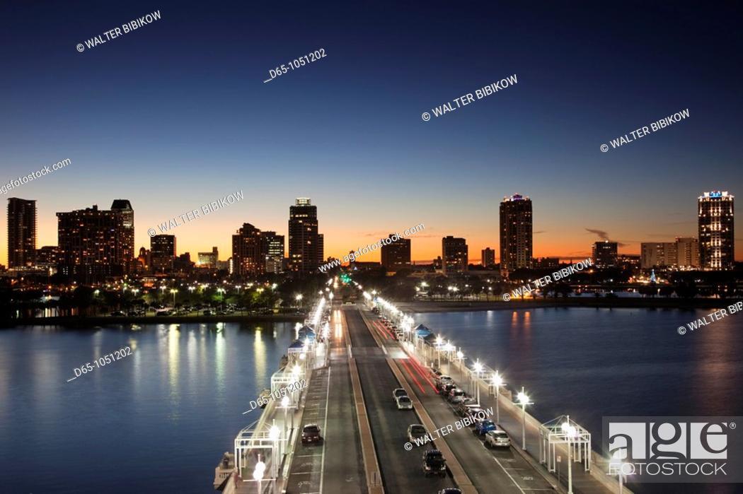 Stock Photo: USA, Florida, St  Petersburg, skyline from The Pier, evening.