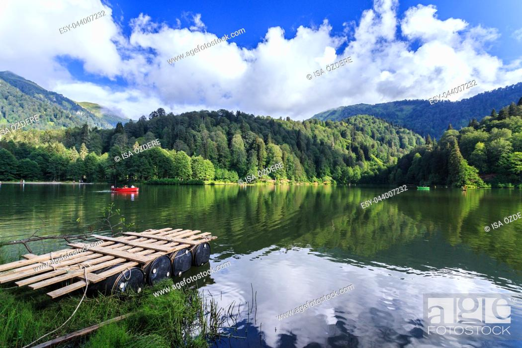 Stock Photo: Landscape view of Karagol (Black lake) a popular destination for tourists, locals, campers and travelers in Eastern Black Sea, Savsat, Artvin, Turkey.