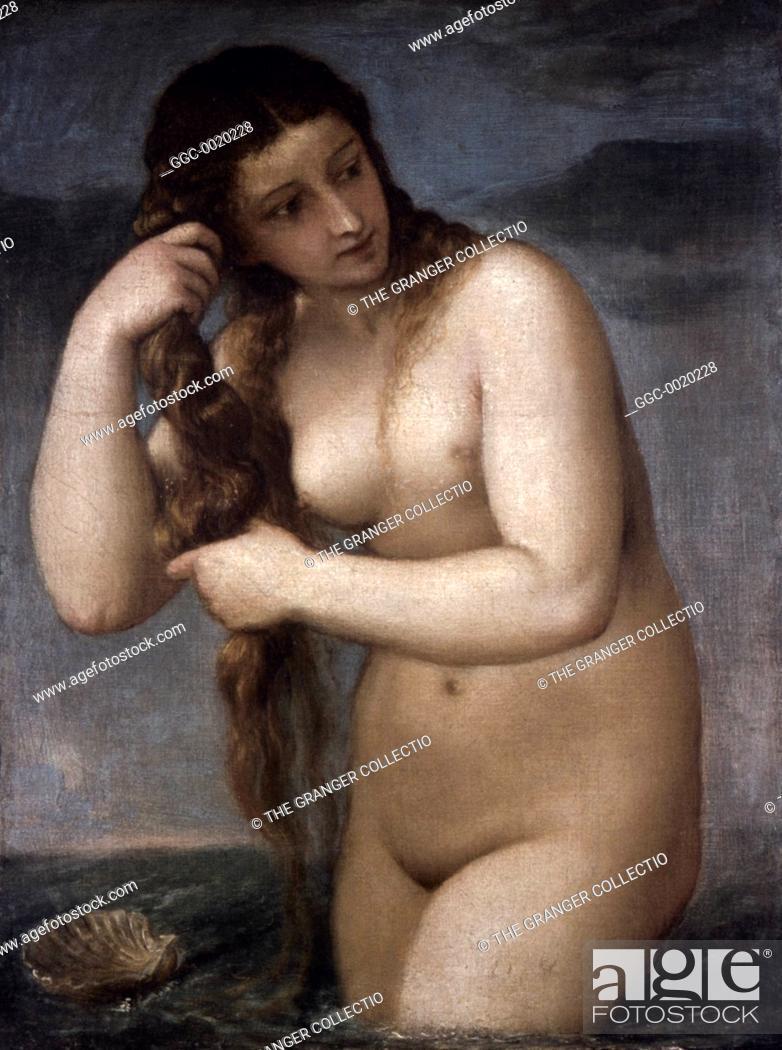 Stock Photo: TITIAN: VENUS, 1520.Titian: Venus Anadyomene. Oil on canvas, c1520.