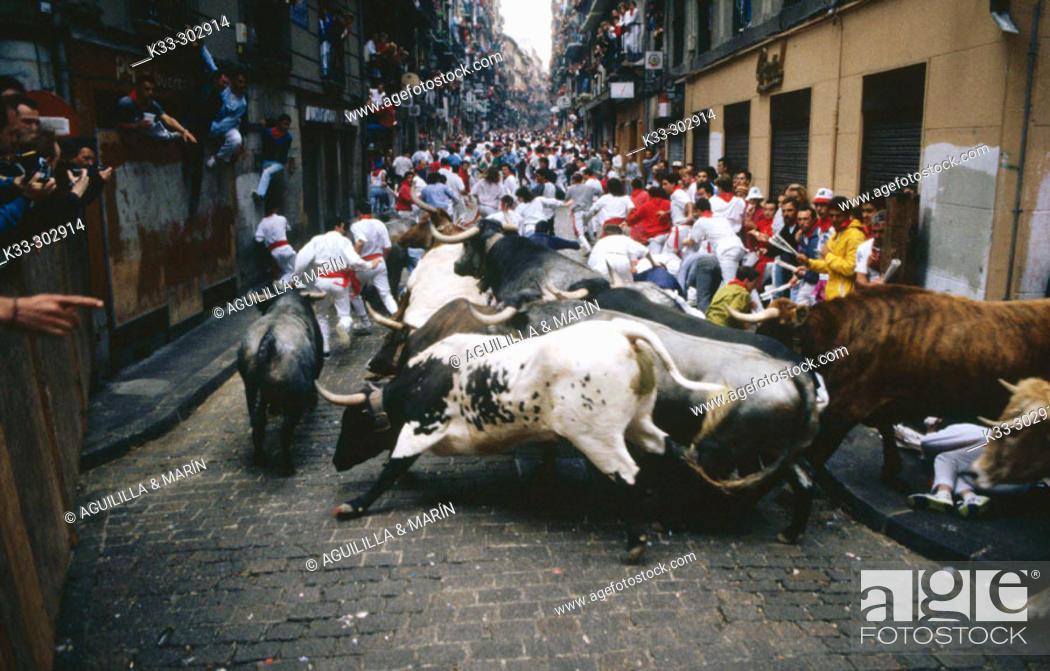 Stock Photo: Running of the bulls. San Fermin. Pamplona. Navarre. Spain.