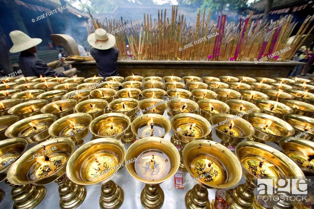 Stock Photo: China- April 2008. Sichuan Province. Leshan City. The Grand Buddha (Da Fo) W.H.. The Temple.