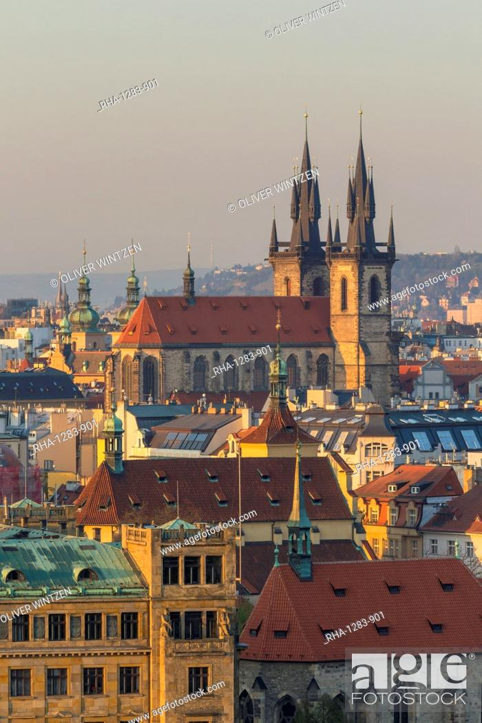 Stock Photo: View from a lookout at Letna Park over the old town at first sunlight, Prague, Bohemia, Czech Republic, Europe.