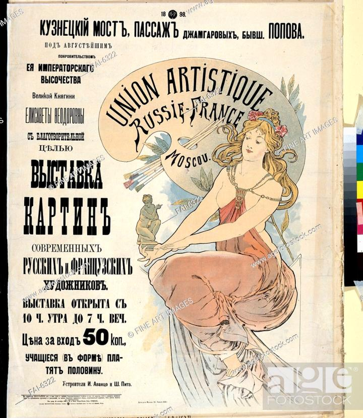 Stock Photo: Poster for the Exibition of Russian and French artists. Mucha, Alfons Marie (1860-1939). Colour lithograph. Art Nouveau. 1898. State A.