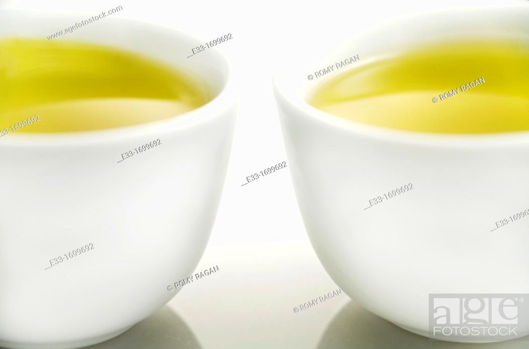 Stock Photo: Two cups of green tea.