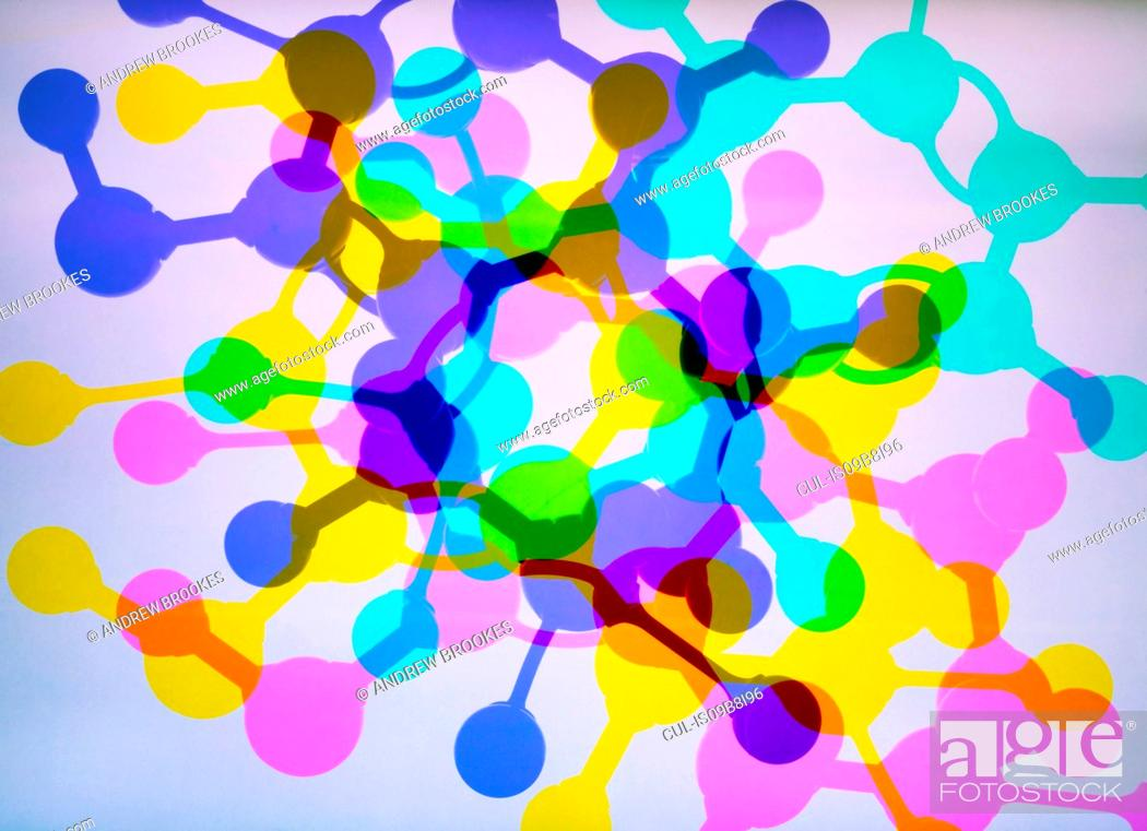 Stock Photo: Multi exposure photogram of molecular structure of a formula, illustrating pure research.