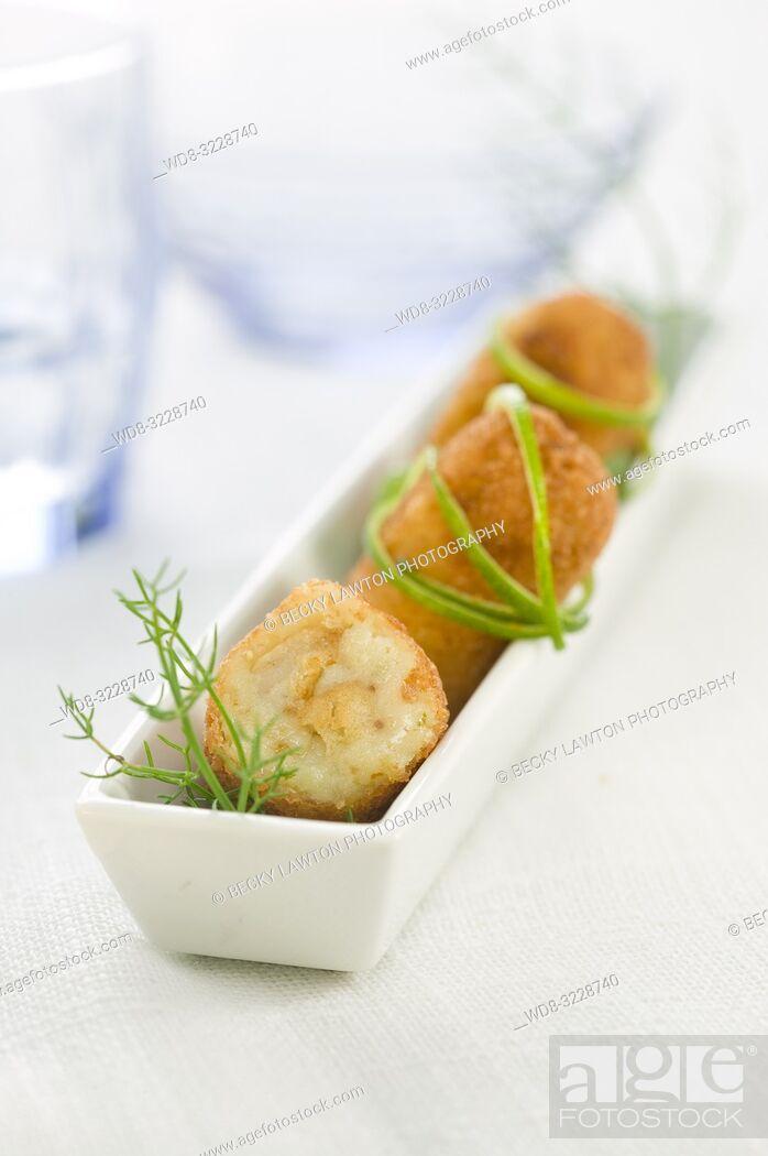 Stock Photo: Croquetas de rape / Monkfish croquettes.