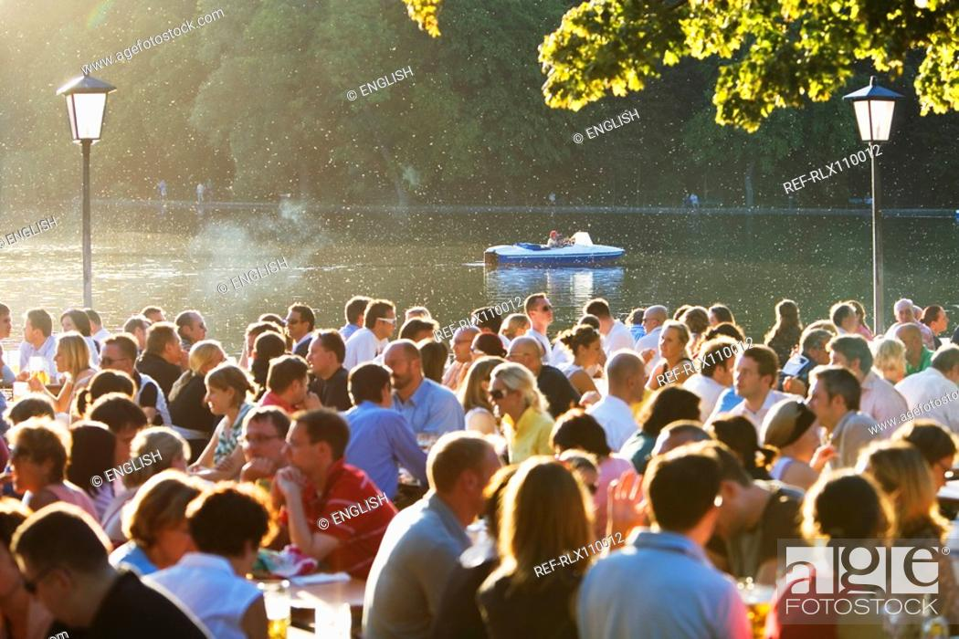 Stock Photo: Large group of people in Seehaus beer garden, English Garden, Munich.
