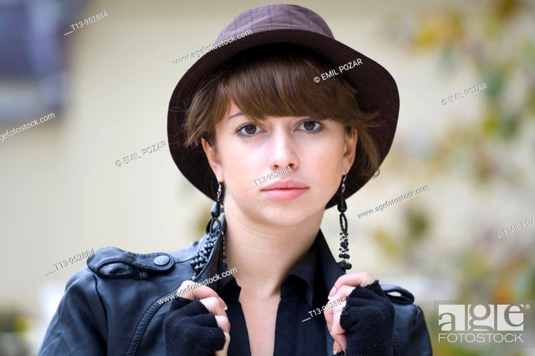 Stock Photo: Fancy young woman portrait with stylish hat.
