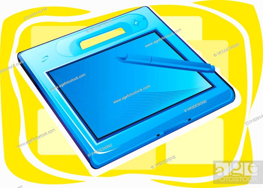 Stock Photo: Illustration of Blue metallic palmtop.