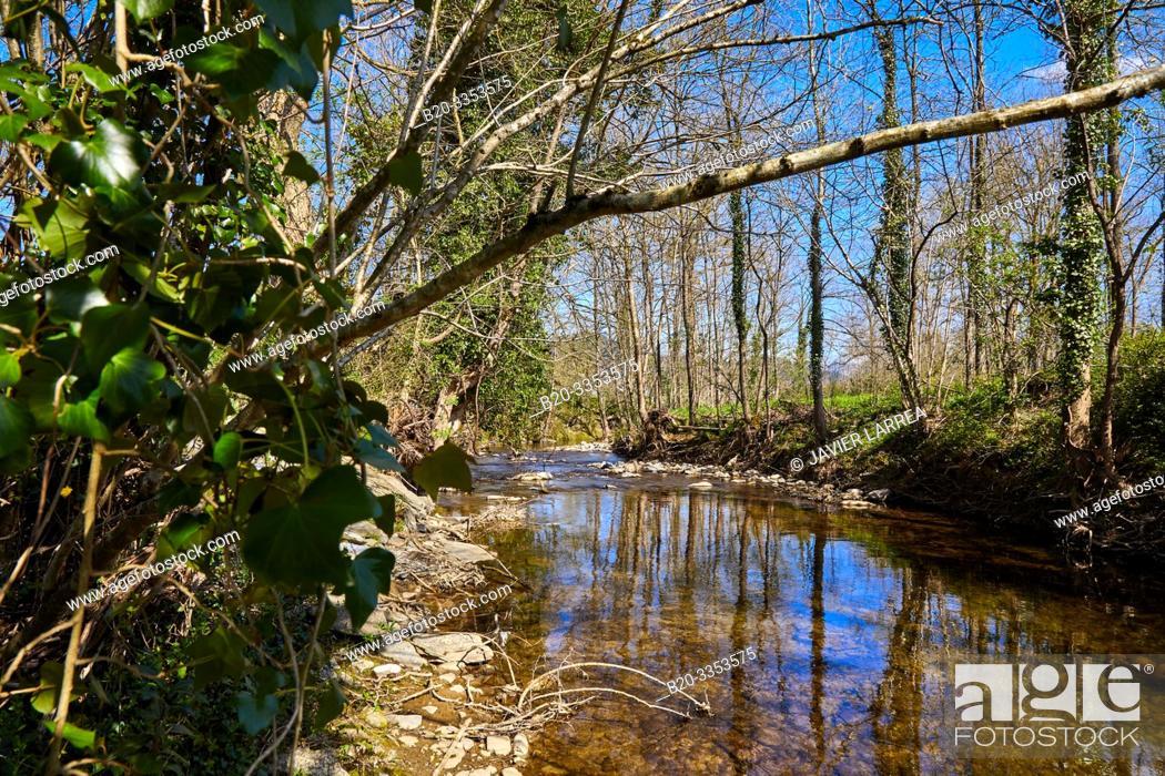 Stock Photo: Oria River, Segura, Gipuzkoa, Basque Country, Spain.