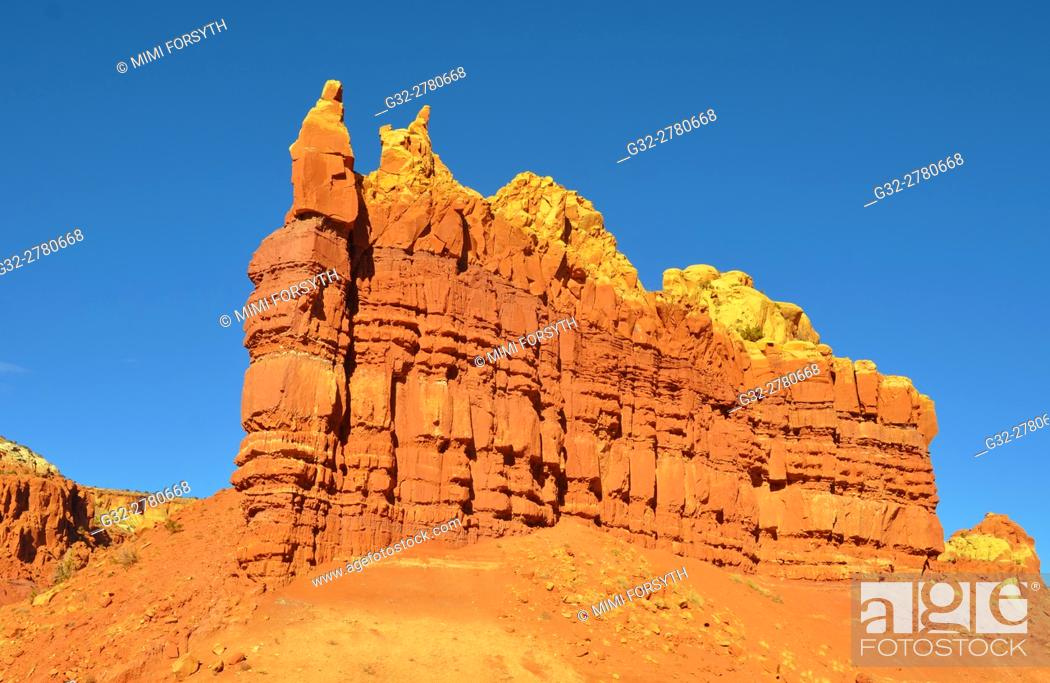 Stock Photo: Rock formation, near Abiquiu, New Mexico. Product of erosion.