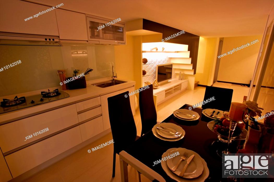Stock Photo: Modern Interior Design - Dining Room in a Domestic Kitchen.