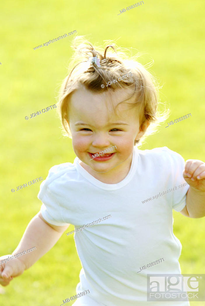 Stock Photo: Girls, laughing, portrait,    Series, child, toddler, 1-2 years, hairdo, nicely, dearly, cutely, childhood, leisure time, summer, outside, meadow garden sunny.