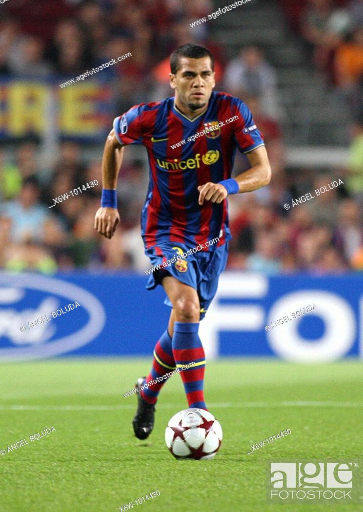 Stock Photo: Dani Alves, Brazilian footballer, FC Barcelona, 2009.