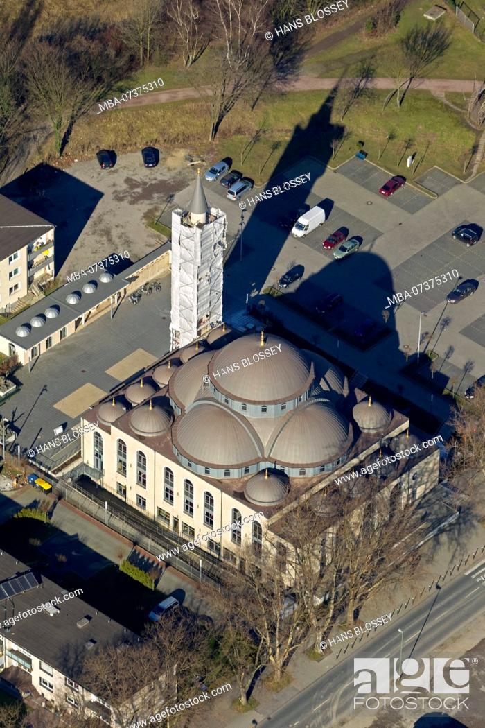 Stock Photo: Aerial photo, DITIB-Merkez Mosque, Germany's largest mosque, Duisburg, Duisburg-Nord, Ruhr area, North Rhine-Westphalia, Germany, Europe.