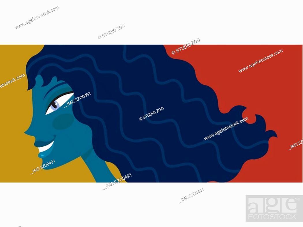 Stock Photo: Blue woman.