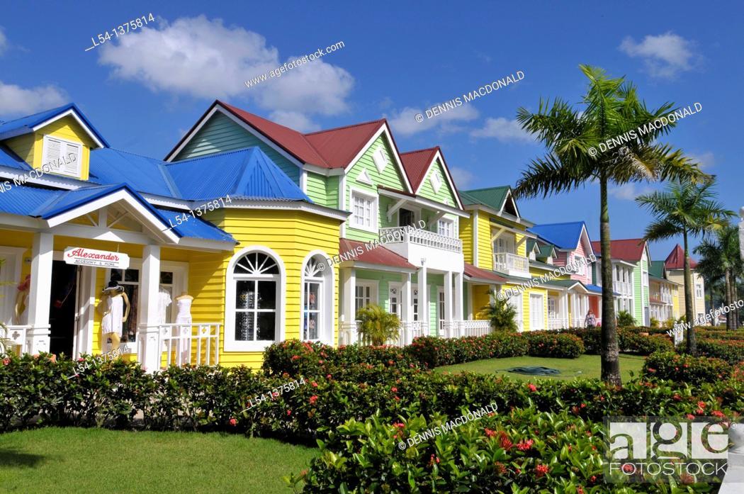Stock Photo: Colorful Shops Samana Dominican Republic Hispaniola Southern Caribbean Cruise.