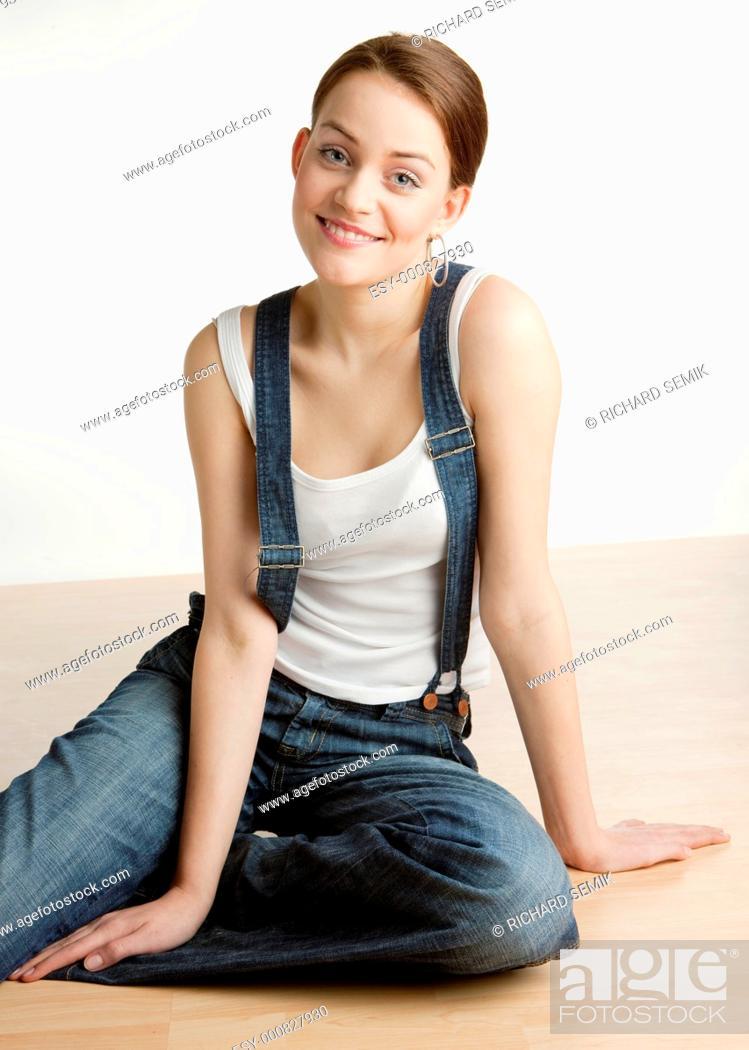 Stock Photo: portrait of sitting woman.