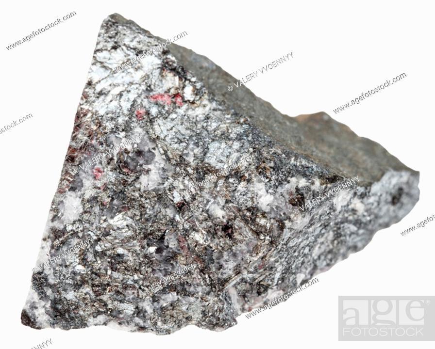 Stock Photo: macro shooting of natural mineral stone - piece of stibnite (antimonite, antimony ore) isolated on white background.