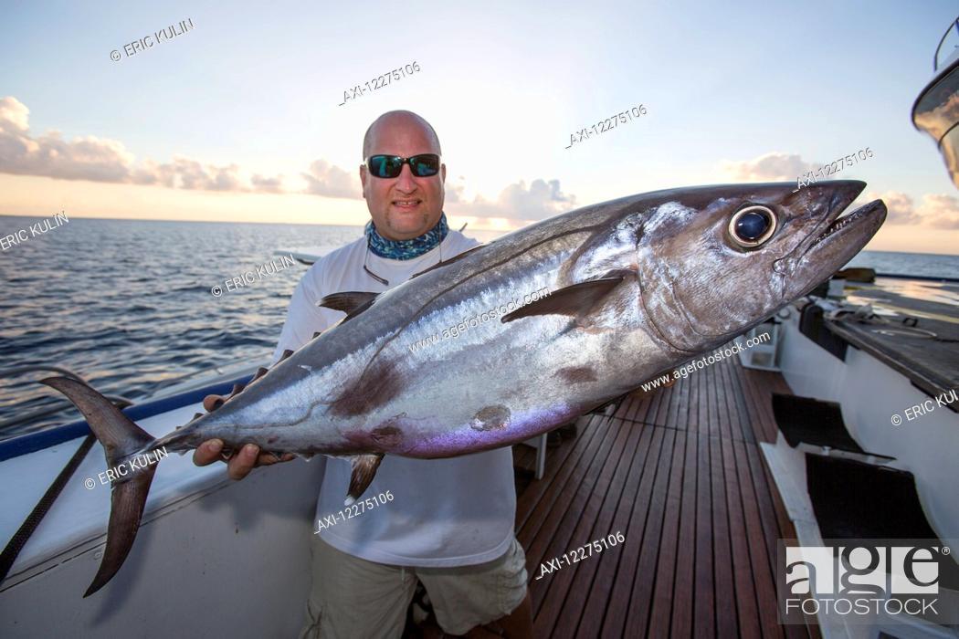 Imagen: A fisherman poses with a dogtooth tuna (Gymnosarda unicolor); Tahiti.
