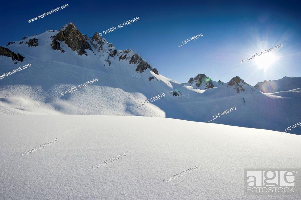 Stock Photo: Snow-capped mountain, Tignes, Val d Isere, Savoie department, Rhone-Alpes, France.