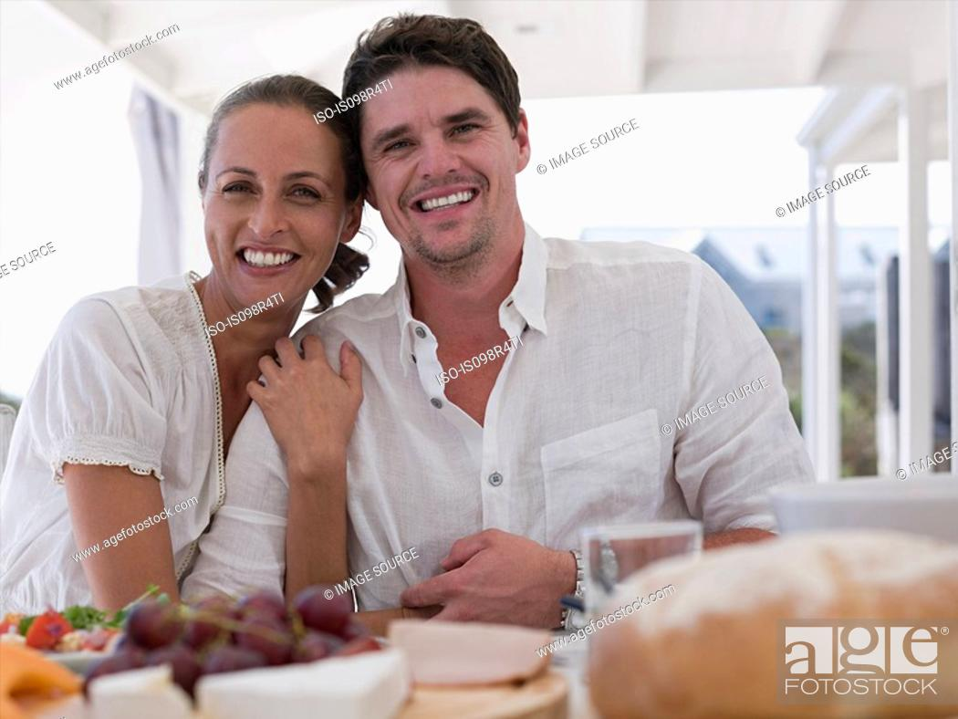 Stock Photo: Couple at meal outdoors.