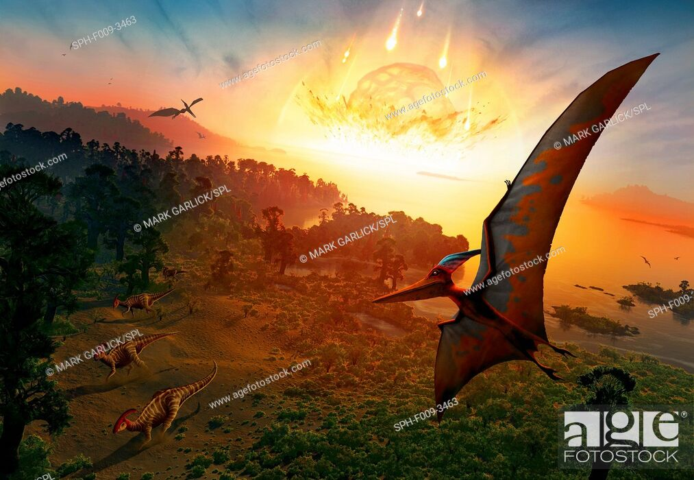 Stock Photo: Artwork depicting the extinction of the dinosaurs, some 65 million years ago. Scientists are now as certain as they can be that the extinction of the dinosaurs.