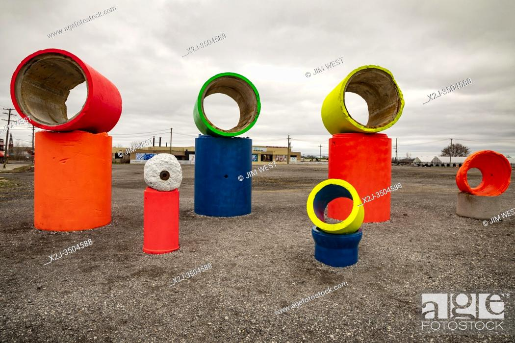 Stock Photo: Detroit, Michigan - Sculpture created from old concrete pipe by artist Scott Hocking at Eastern Market.