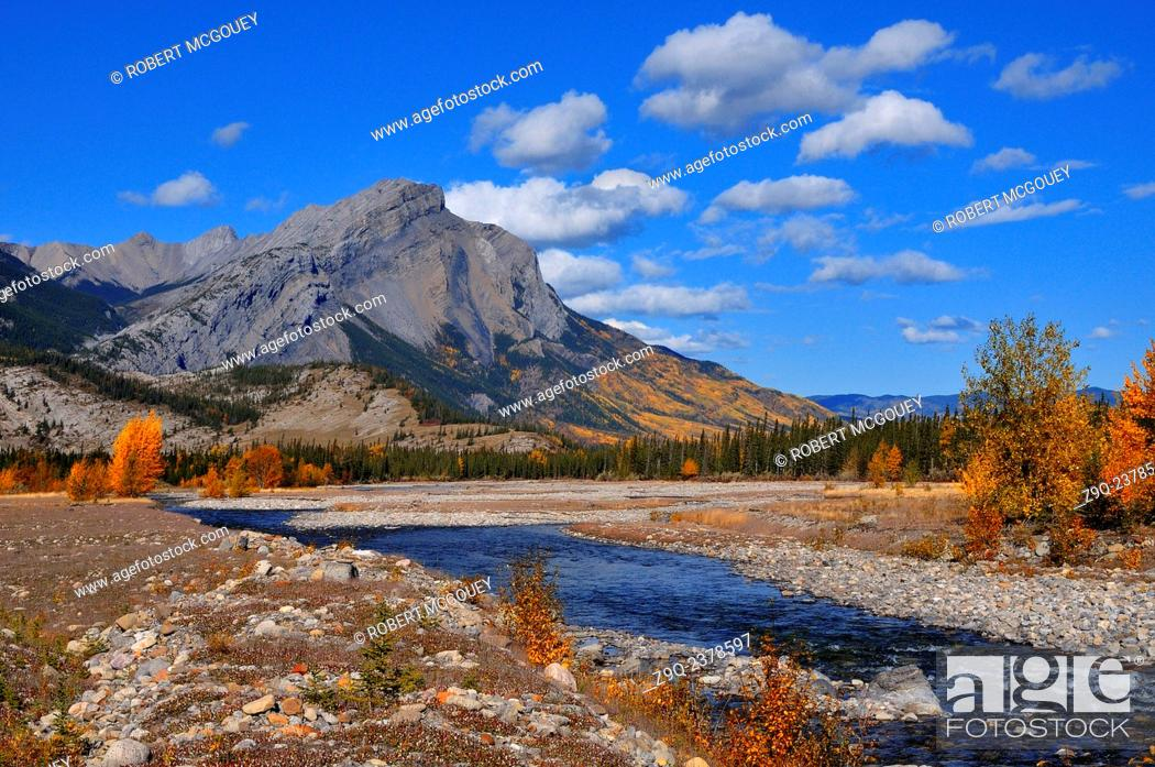 Stock Photo: A rocky mountain autumn scenic with changing leaves and fall colors in Jasper National Park Alberta Canada.