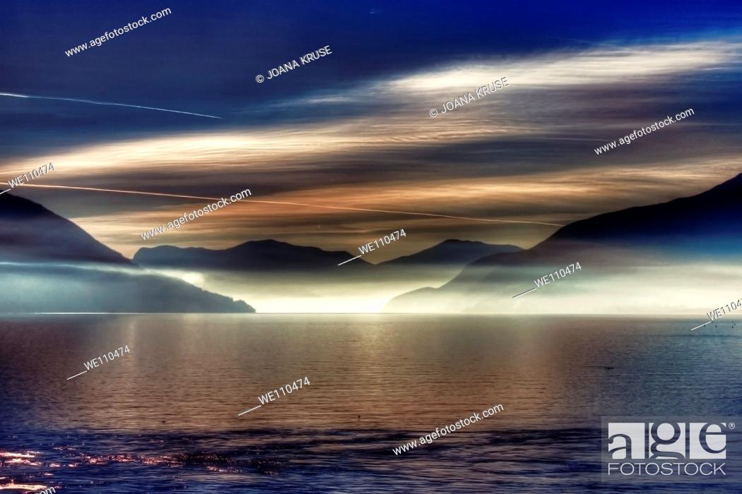 Stock Photo: morning haze over the Lake Maggiore.