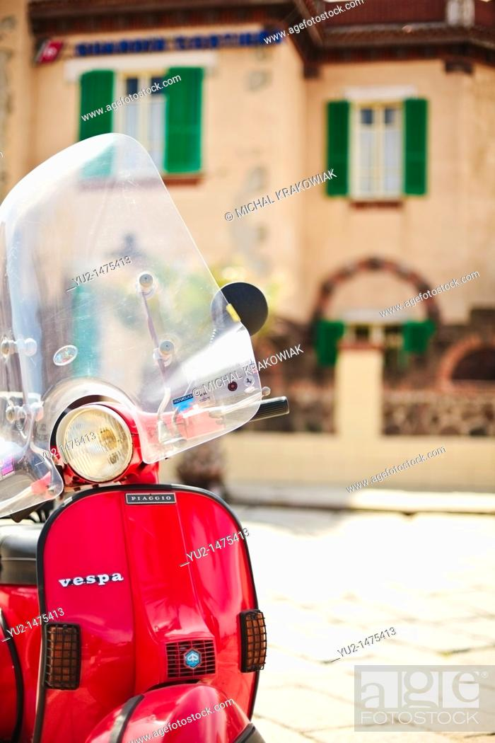 Stock Photo: Vespa Piaggio parked in Bosa old town Sardinia, Italy.