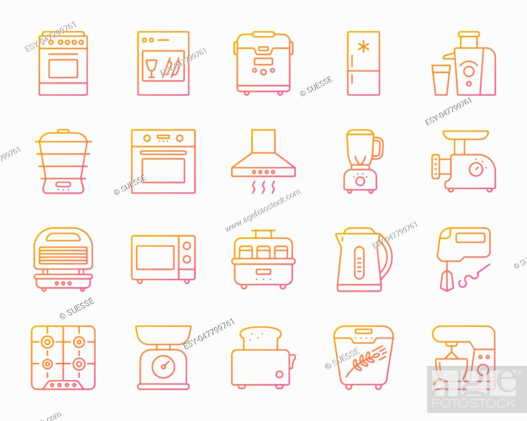 Stock Vector: Kitchen Appliance thin line icons set. Outline vector web sign kit of equipment. Electronics linear icon collection includes microwave, gas, cooker.