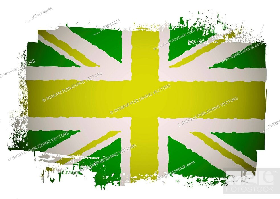 Vector: Green and yellow grunge british flag with a twist.