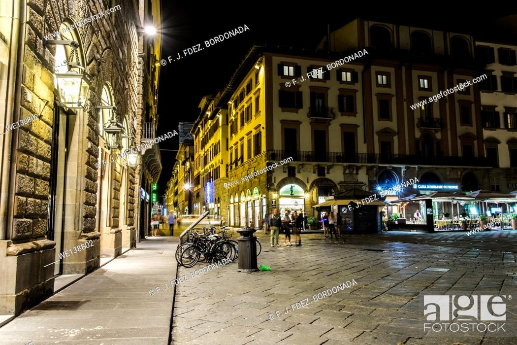 Stock Photo: Nightscape of Firenze city centre by night, Italy.