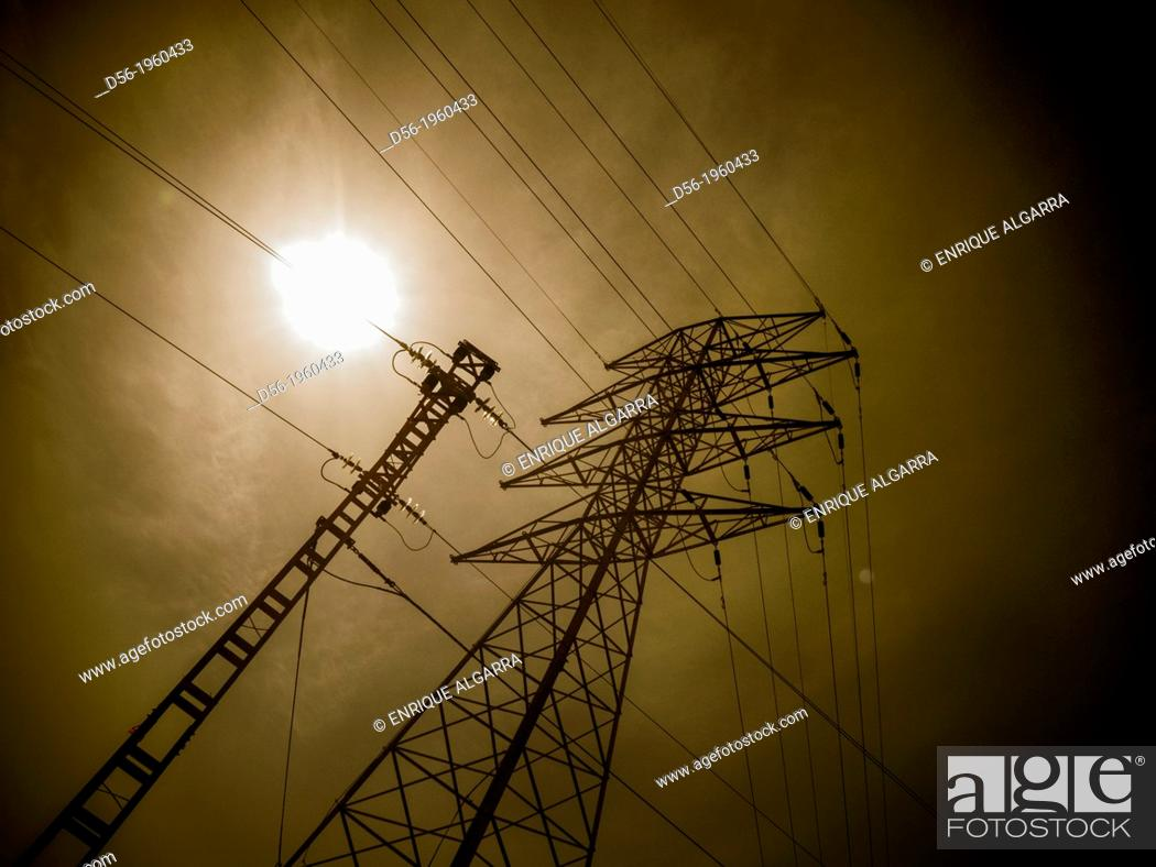 Stock Photo: High tension tower.