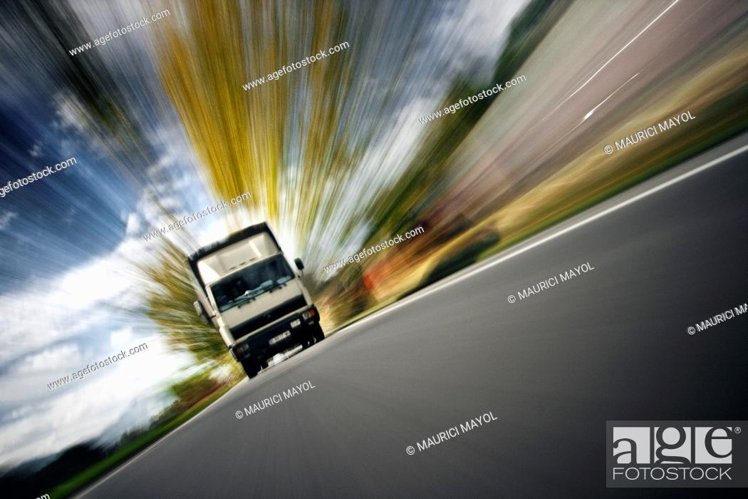 Stock Photo: urgent delivery by truck.