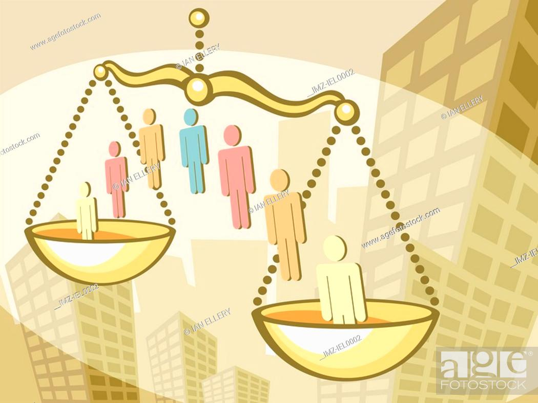 Stock Photo: A graphical illustration combining tall office buildings, male symbols and weigh scales.