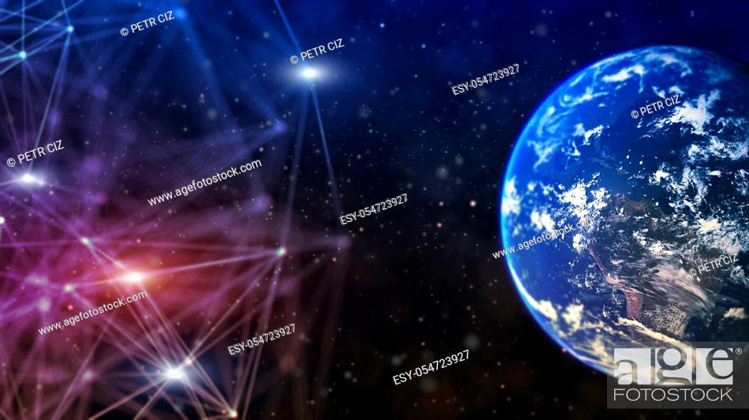 Stock Photo: Global network communication and big data exchange over the world.