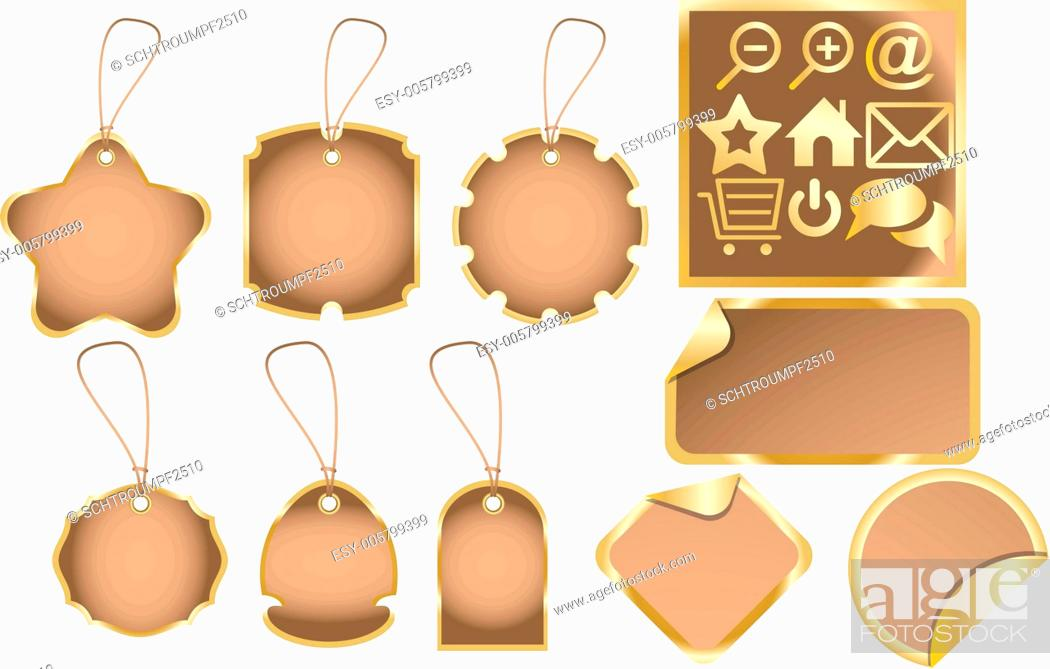 Stock Vector: Dummies for various labels and golden web icons.