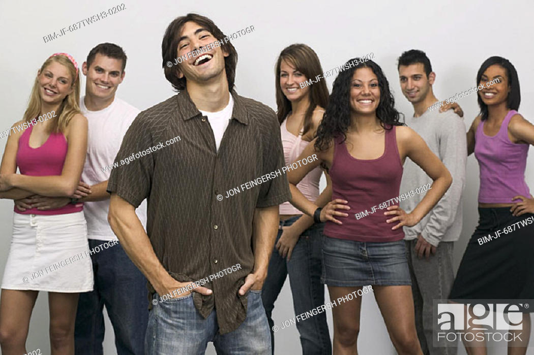 Stock Photo: Young people modeling clothing.