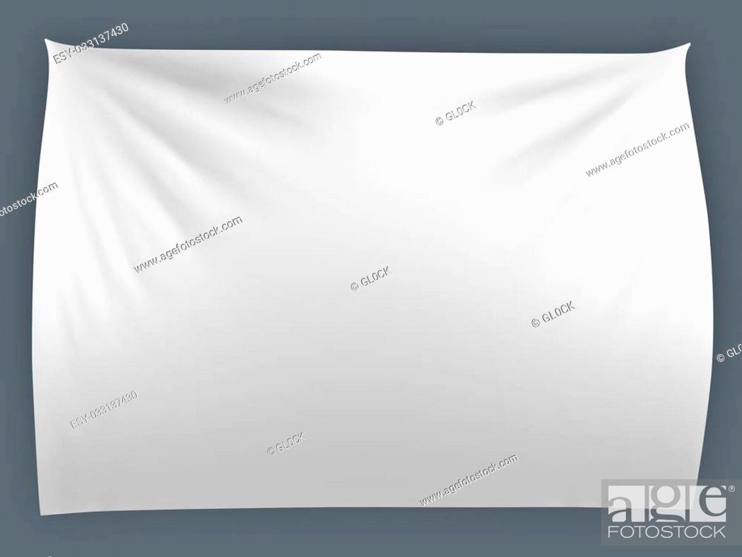 Stock Photo: White banner with folds, isolated.