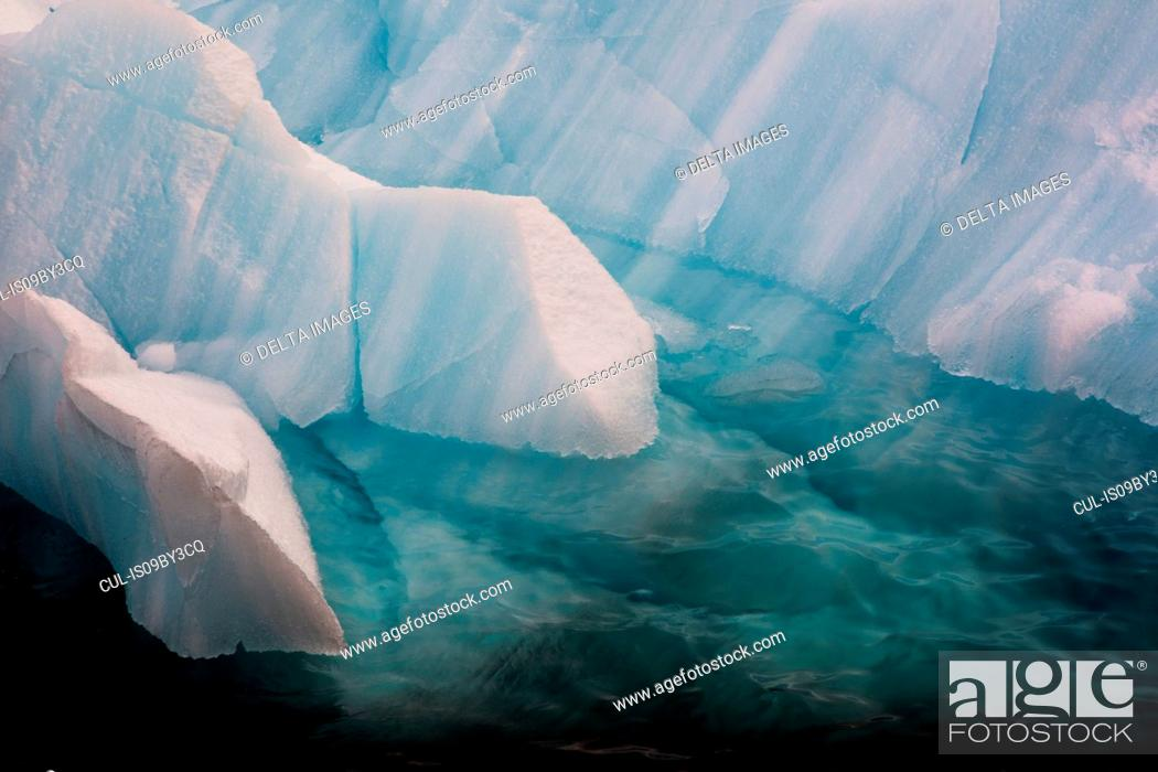 Stock Photo: Ice floes, high angle sunlit detail, Erik Eriksenstretet strait separating Kong Karls Land from Nordaustlandet, Svalbard Islands, Norway.